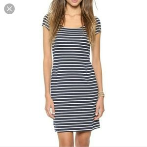 Anthro Three Dots Navy Striped Midi Sheath Dress